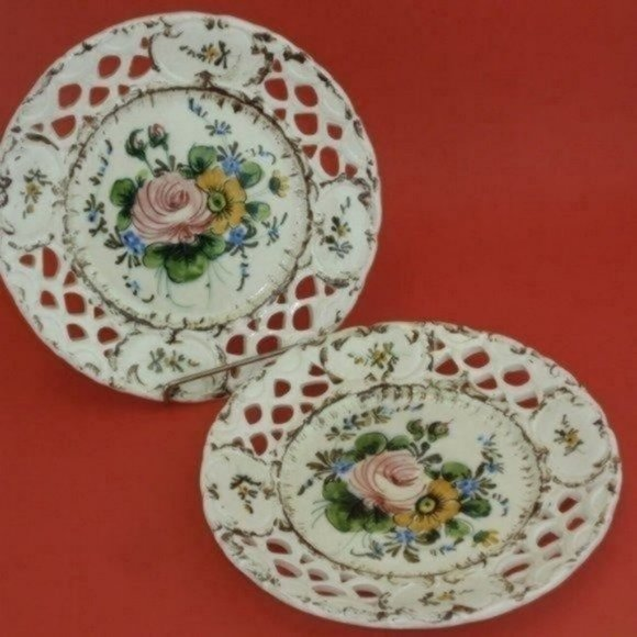 ITALIAN Hand Painted Reticulated Floral Plates